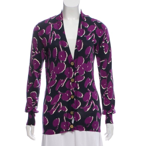 Tory Burch Sweaters - Tory Burch Button Up Cardigan Purple floral Print